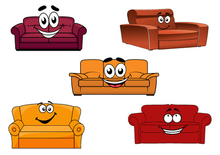 Colorful cartoon sofas, settees or couches characters for interior decor design elements with happy faces, vector illustration