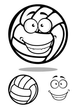 Happy cartoon volleyball ball character with a smiling face in a black and white, vector illustration Illustration