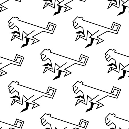 Seamless pattern of a stylized monkey in side view with a black vector outline drawing motif Vector