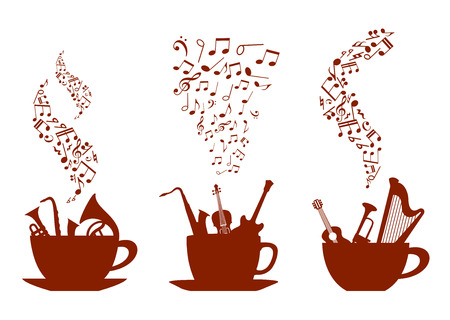 Musical cups of coffee with various instruments inside the cups and wafting steam composed of music notes, vector illustration
