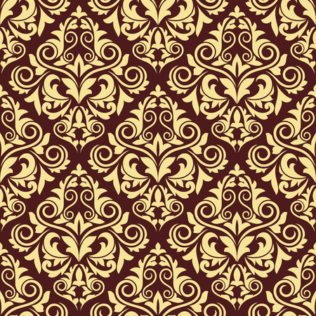 foliate: Ornate brown and yellow seamless arabesque pattern with large foliate and floral repeat motifs, vector illustration Illustration