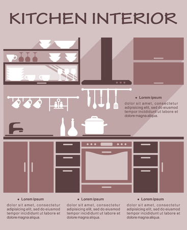 fitted: Flat kitchen interior design template for an infographic showing a fitted kitchen with appliances, utensils, kitchenware and cabinets with space for text, vector illustration Illustration