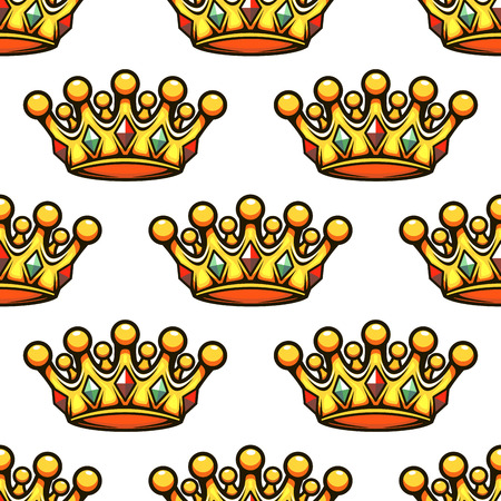 rown: Seamless background pattern of a golden croyal rown studded with gemstones, vector illustration