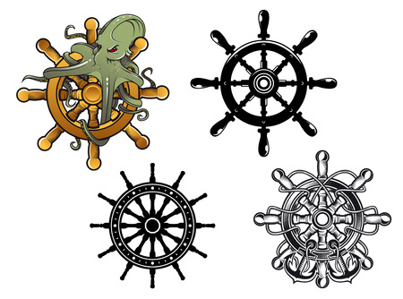 black octopus: Vintage ships steering wheels with octopus and anchors, vector illustration