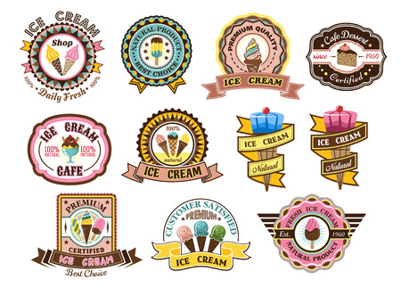 sorbet: Colorful ice cream emblems, labels or badges set decorated with ice cream cones, cake, sundaes and iced frozen lollies with assorted text, vector illustration Illustration