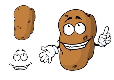 batata: Happy goofy cartoon potato character with a big smile pointing a finger in the air and a second plain variant, vector illustration