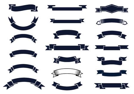 Gran conjunto de banners de cinta vintage clásico en blanco para elementos de diseño, ilustración vectorial