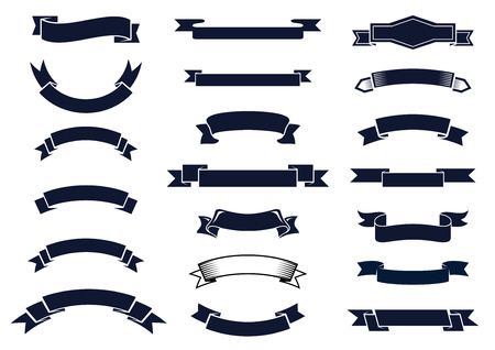Large set of blank classic vintage ribbon banners for design elements, vector illustration
