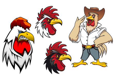 Cartoon roosters or cocks charcters for mascot ot agriculture design, vector illustration