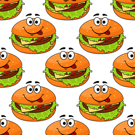 Cartoon cheeseburger seamless pattern with a colored happy smiling burger in square format, vector illustration
