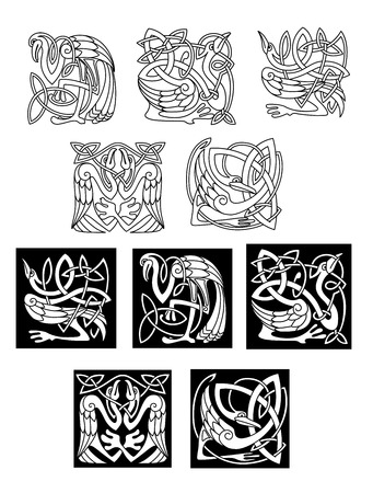 Stork and heron birds in celtic ornaments or patterns in black and white on both a white and black background, vector illustration Vector
