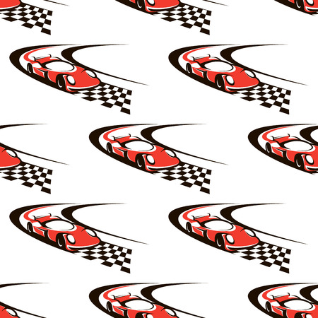 Car racing seamless pattern with fast red car