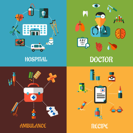 Creative flat medical concept designs including hospital, doctor, ambulance and intake recipe icons and elements Vector