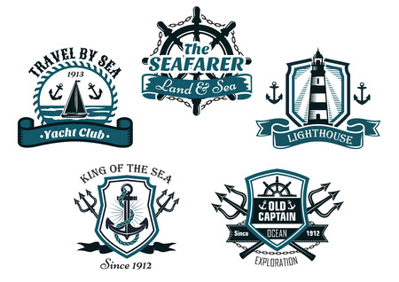 captain: Nautival various heraldic emblem and symbols designs with travel by sea, yacht club, seafarer, lighhouse, king of the sea and old captain badge elements