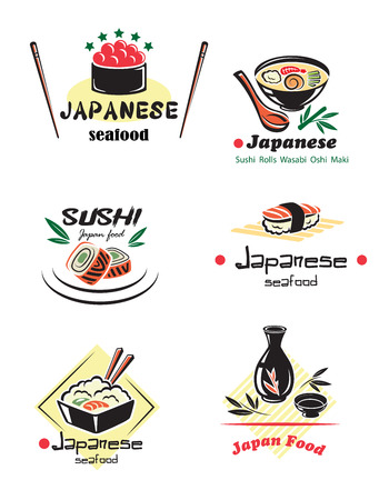 japanese sake: Conjunto marisco japonés con caviar rojo, sushi, rollos, sake, nigiri, pescado, arroz, sopa, los palillos para el diseño del menú del restaurante Vectores