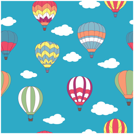 Colored hot air balloons seamless pattern on light blue sky background with white clouds for travel design Vector