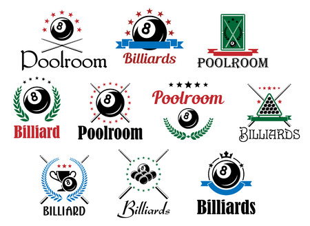 cues: Various billiard game emblems and symbols set isolated on white with balls, crossed cues, laurel wreaths and decorative elements