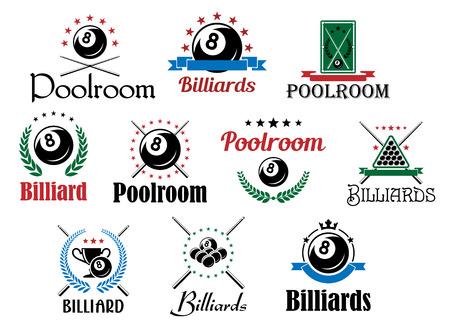 Einsatzzeichen: Verschiedene Billard-Spiel Embleme und Symbole gesetzt isoliert auf wei� mit Kugeln, �berquerte Cues, Lorbeerkr�nze und dekorative Elemente