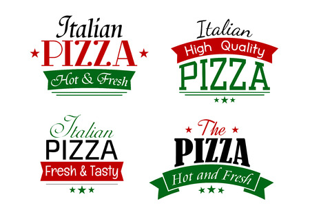 pizzeria label design: Various simple italian pizza labels set with text Hot and Fresh, High Quality, Fresh and Tasty Illustration
