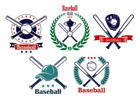 baseball: Baseball sporting heraldic emblems with crossed bats, balls, trophy cup, laurel wreaths, ribbons and cap Illustration
