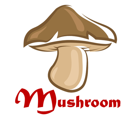cartooned: Close up brown cartooned forest mushroom isolated on white background Illustration