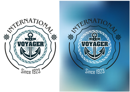 International voyager marine heraldic banner with ship anchor, steering wheel and round rope frame Иллюстрация