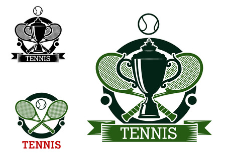 backhand: Black and green tennis tournament emblems with crossed rackets, balls and sport trophy