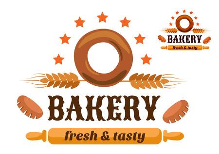 bagel: Bruin en oranje bakkerij embleem met bagel en graanproducten oren