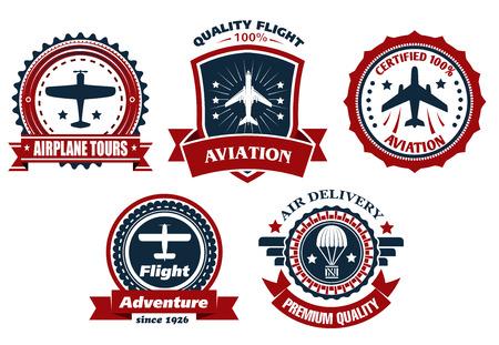 航空機と航空バナーや交通機関と配信ビジネスの業界設計バッジ  イラスト・ベクター素材