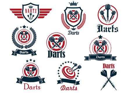 スポーツ アイコンとエンブレムについて矢印、ターゲット、リボン、花輪および装飾とダーツ  イラスト・ベクター素材