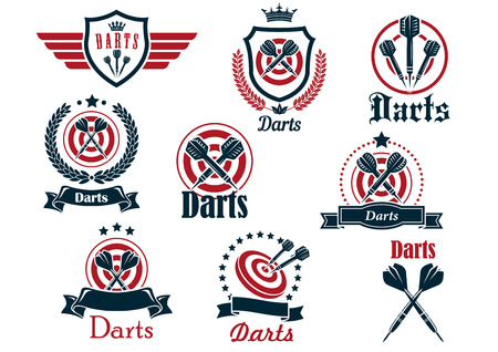 decorations wreaths: Darts sporting icons and emblems with arrows, target, ribbons, wreaths and decorations