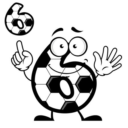 Close up number six with soccer ball skin and smiling face in cartoon style isolated on white background Vector