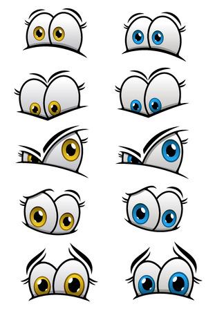 ojos caricatura: Ojos Cartooned con iris azul y amarillo y las diferentes emociones de los personajes o c�mics dise�o Vectores