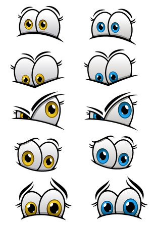 Cartooned eyes with blue and yellow iris and different emotions for characters or comics design