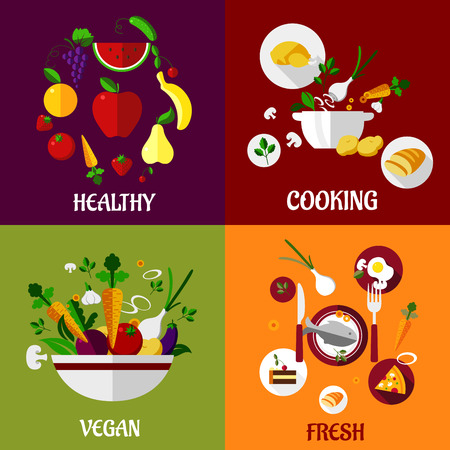 healty food: Colored fresh healty food flat design with fruits, vegetables, vegan and cooking concepts