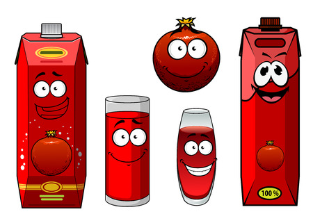 pomegranate juice: Pomegranate juice and fruit in cartoon style for healthy drink design
