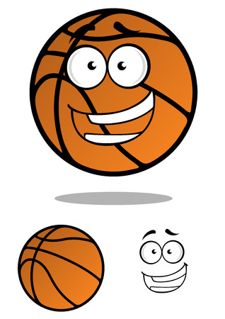 basket ball: Close up cartooned basketball ball character with smiling face isolated on white background Illustration