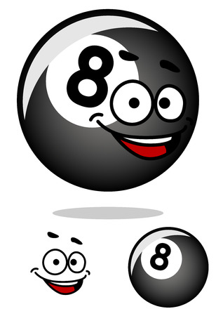 Gray cartooned eight pool ball with happy face on white background for billiards sports design Illustration