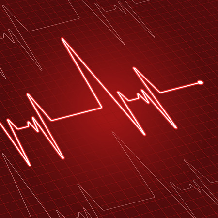 pulsating: Close up heartbeat or electrocardiogram on screen for medicine and cardiology design