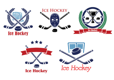 hockey goal: Ice Hockey heraldic emblems and symbols with hockey stick, puck, goalkeeper mask, trophy cup, laurel wreath, ribbons for sports or tournament design