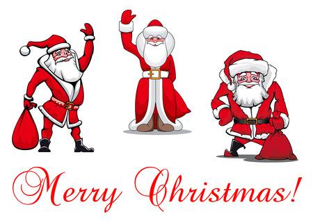 cartooned: Cartooned Santa Clauses with Merry Christmas textfor holiday design and decoration