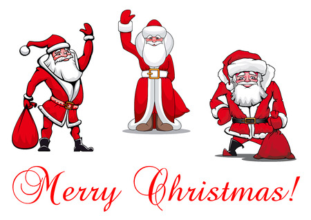 Cartooned Santa Clauses with Merry Christmas textfor holiday design and decoration