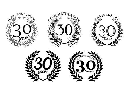 jubilee: Heraldic laurel wreaths set for 30 years anniversary or jubileee design