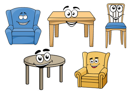 cartooned: Cartooned table and chair furniture set with smiling faces, isolated on white background