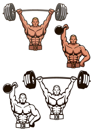 cartooned: Cartooned bodybuilder lifting weights with barbell and dumbbbell for sports design