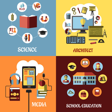 architect: Educational concept designs in flat style with architect, science, school, web education and media icons or elements