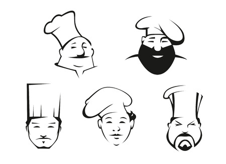 kitchener: Cook and chef heads in toques with different emotions for restaurant and cafe design