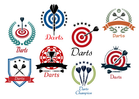 Darts sporting emblems, symbols and icons for tournament, club or heraldry design