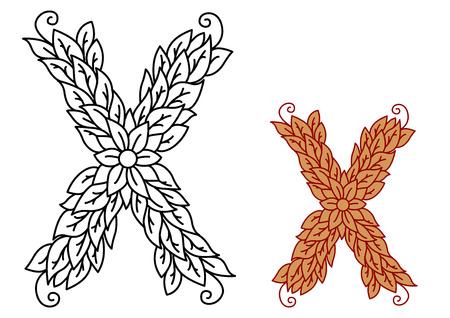 foliate: Uppercase letter X in a foliate font with leaves and flower, vector illustration Illustration