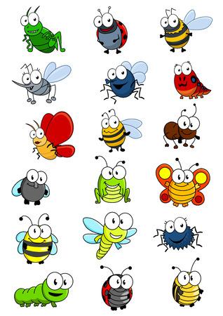 Insectos Cartooned establecidos con la abeja, avispa, avispón, caterpilllar, grashopper, mariquita, mosca, gusano, mariposa, libélula, hormigas, arañas y bichos Foto de archivo - 34371023